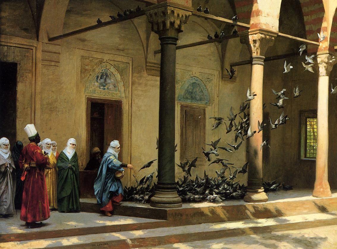 Женщины гарема кормят голубей ::  Жероме Жан Леон - Арабский восток фото