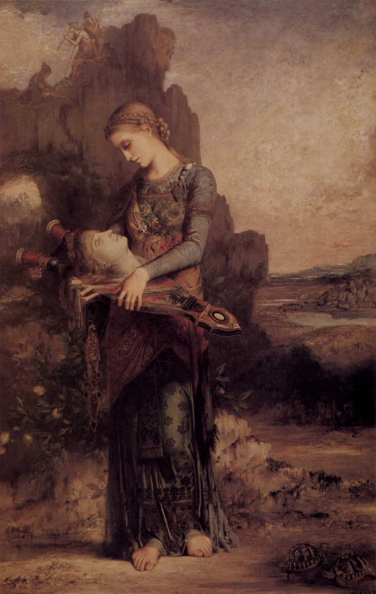Фракийская девушка с головой Орфея на его лире :: Гюстав Моро - Античная мифология фото