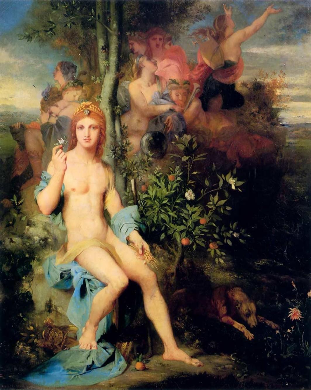 картина Апполон и девять муз :: Гюстав Моро - Античная мифология фото