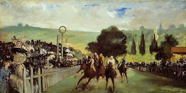 """Картина Мане """"Скачки на Лоншане"""" (Гонки под Парижем) - Edouard Manet (Эдуард Мане) фото"""