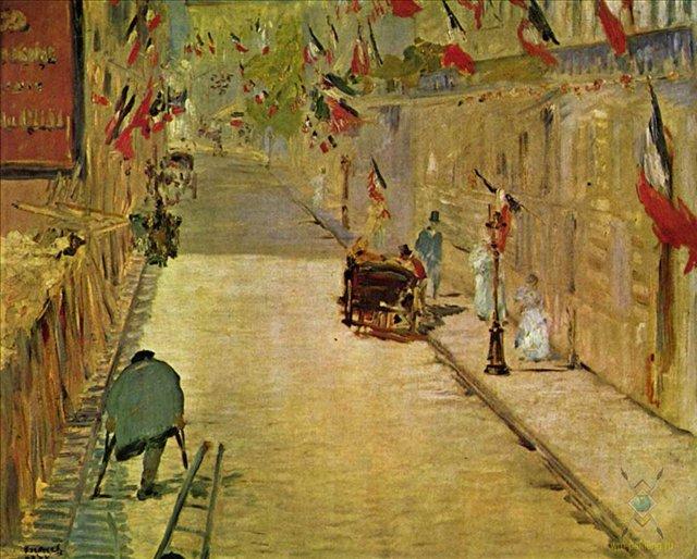 Улица монье с флагами эдуард мане