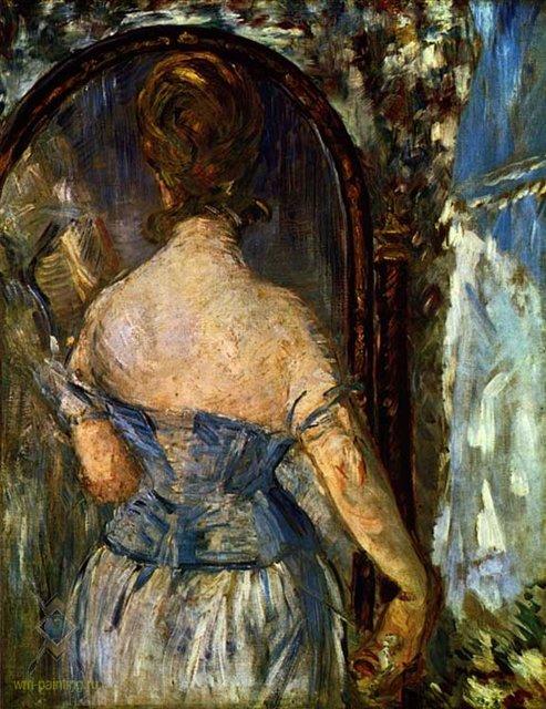 картина Перед зеркалом  :: Эдуард Мане - Edouard Manet (Эдуард Мане) фото