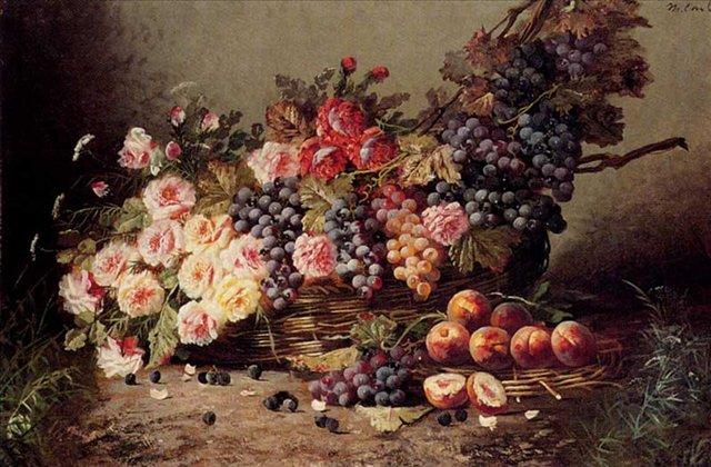 Натюрморт с розами, персиками и виноградом в корзине :: Модесте Карлие - Натюрморт, цветы ( new ) фото