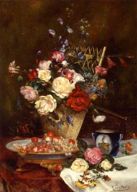 Натюрморт с розами, вишнями и виноградом :: Евгений Анри Кашу - Натюрморт, цветы ( new ) фото