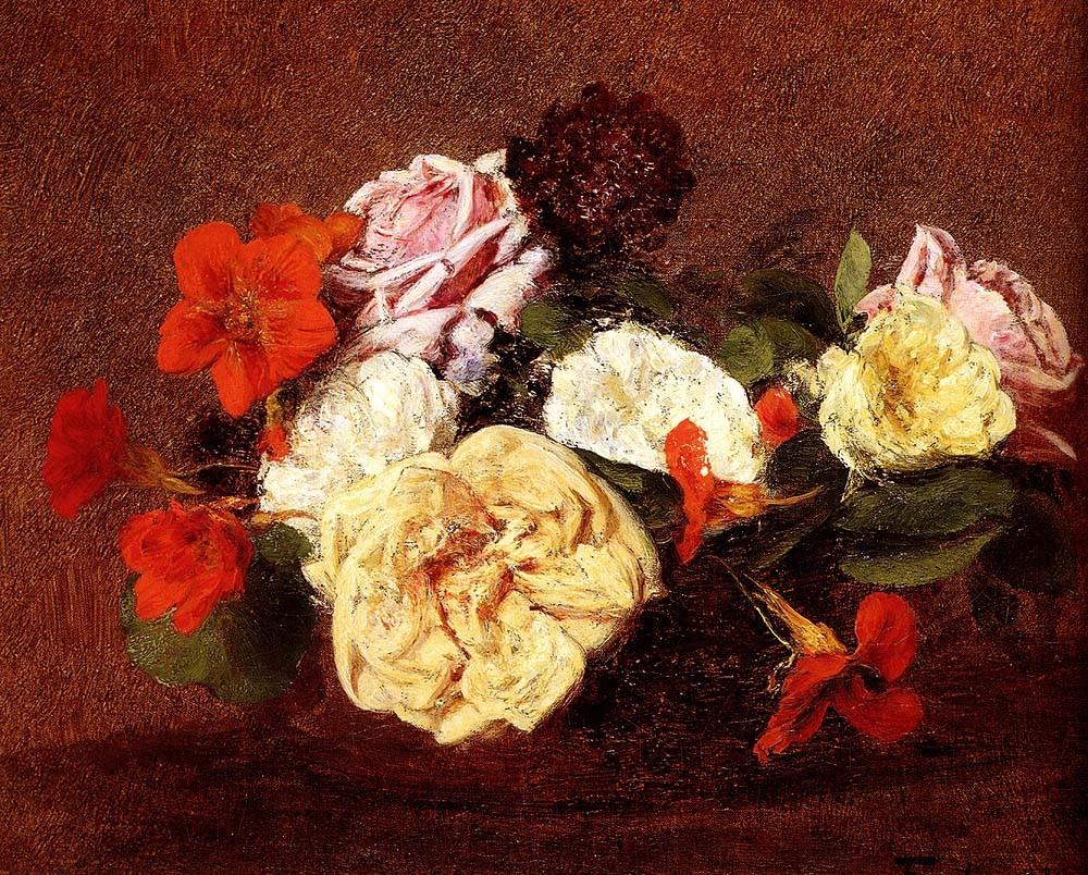 натюрморт <Букет из роз и настурций> :: Анри Фантин-Латур - Натюрморт, цветы ( new ) фото