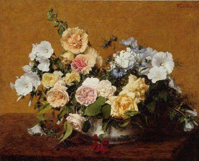 картина натюрморт Букет из роз и других цветов :: Анри Фантин-Латур - Натюрморт, цветы ( new ) фото