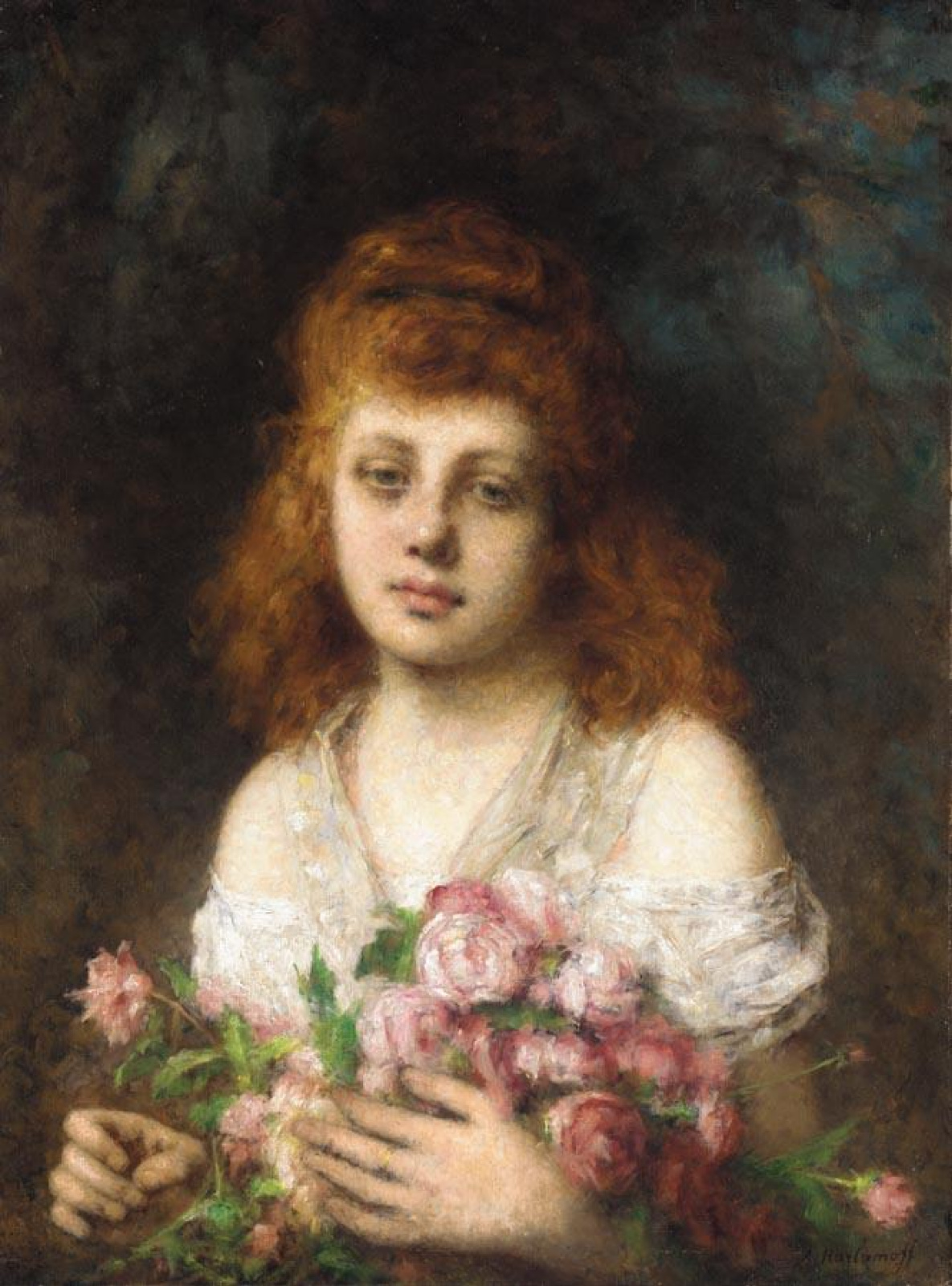 Рыжеволосая девушка с букетом роз :: Алексей Алексеевич Харламов - Натюрморт, цветы ( new ) фото