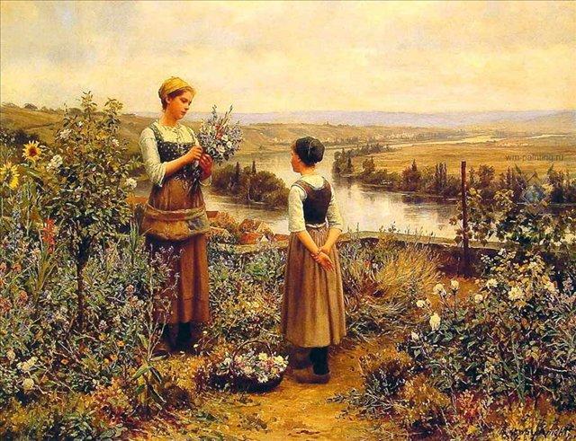 Собирая цветы :: Дэниэл Ридвей Найт - Цветы и натюрморты - картины художников прошлых веков фото