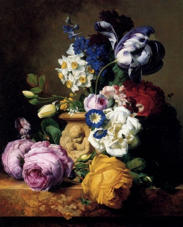 Розы, тюльпаны, дельфинум, пионы и нарцисы в вазе :: Чарльз-Жосеф Ноуд - Цветы и натюрморты - картины художников прошлых веков фото