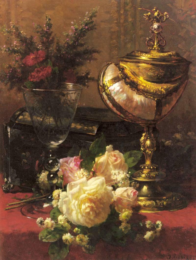 Букет роз и других Цветов в стеклянном кубке с китайской лакированной коробочкой и Чашкой Nautilus :: Жан-Баптист Робье - Натюрморт, цветы ( new ) фото