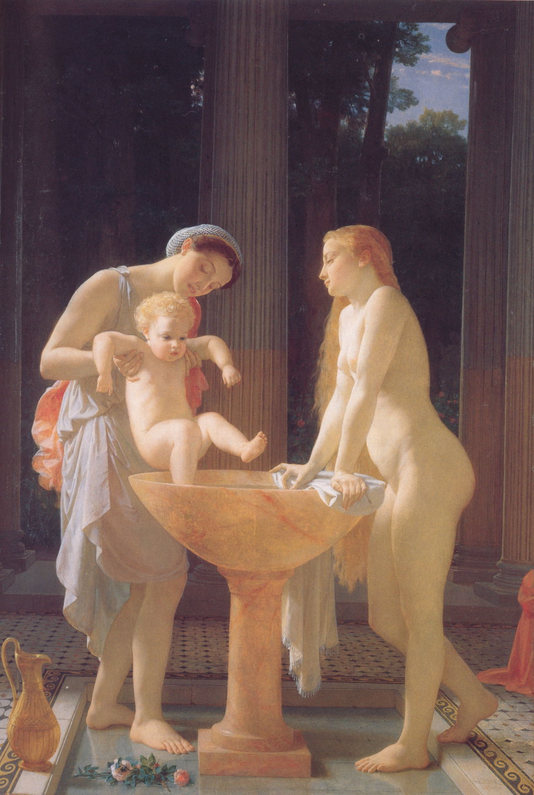 картина Купание младенца  ( интерьер купели ) :: Чарльз Глир - Картины ню, эротика в шедеврах живописи фото