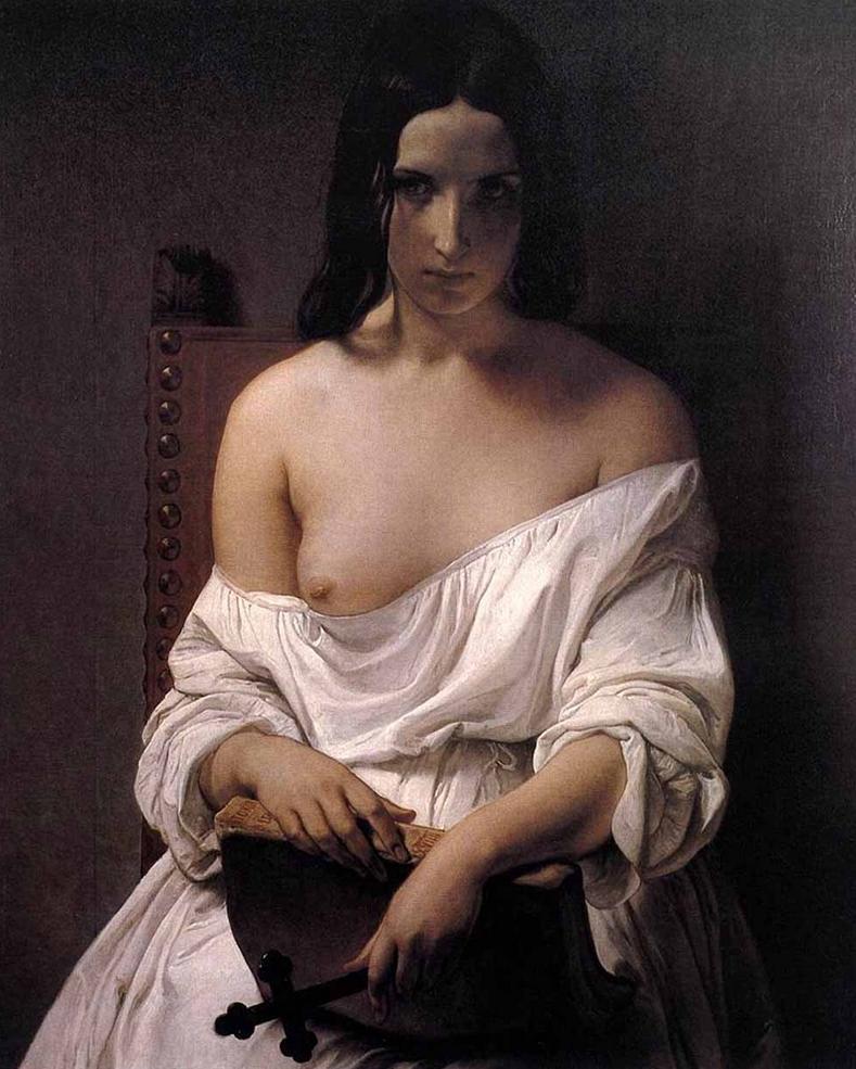 Молитва над историей Италии :: Франческо Хейз, картина ню, эротика в живописи  - Картины ню, эротика в шедеврах живописи фото