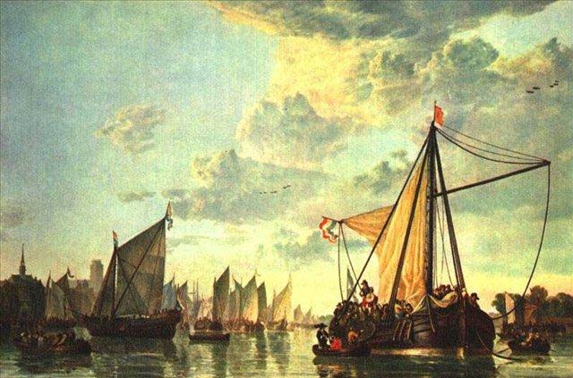Река Маас близ Дордрехта :: Альберт Куп - Море в живописи ( морские пейзажи, seascapes ) фото