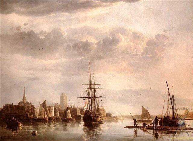 Вид на Дордрехт :: Альберт Куп  (1620-1691) - Море в живописи ( морские пейзажи, seascapes ) фото