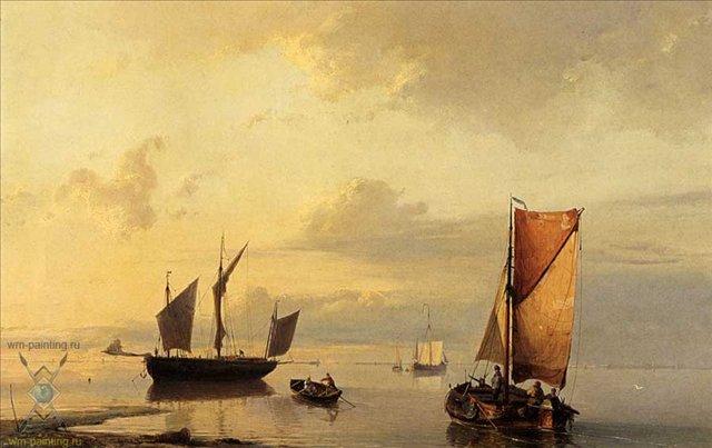 Корабли в спокойном море :: Коекоек Йохан Германус - Море в живописи ( морские пейзажи, seascapes ) фото
