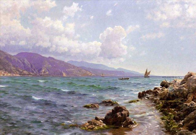 Рыбацкие лодки в море :: Мёнстед Петер ( Дания ) - Море в живописи ( морские пейзажи, seascapes ) фото