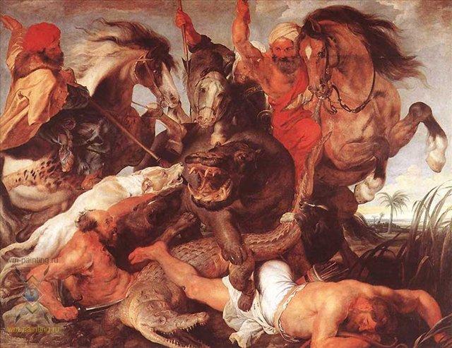 картина Охота на крокодила и гиппопотама :: Питер Пауль Рубенс - Peter Paul Rubens фото