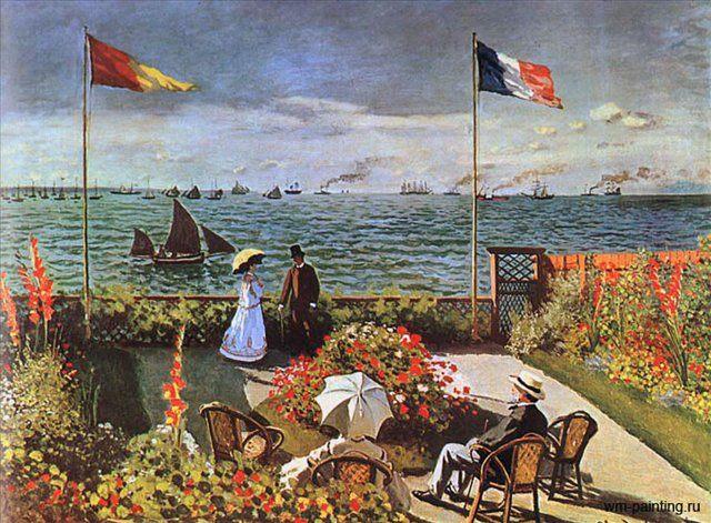 Терраса в Сент-Адрес :: Клод Моне (Франция), описание картины - Claude Monet фото