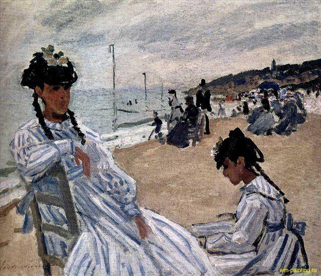 На пляже в Трувиль :: Клод Моне ( Франция ) - Claude Monet фото