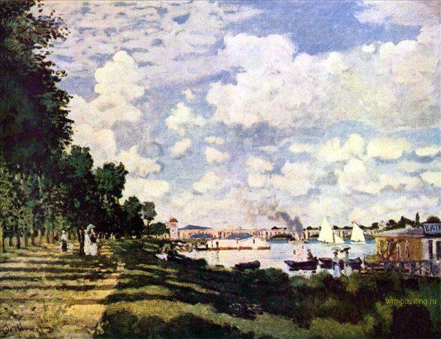 пейзаж < Набережная Сены в Аржантей > ::  Клод Моне ( Франция ) - Claude Monet фото