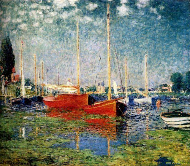 картина Красные лодки в Аржантей :: Клод Моне ( Франция ) - Моне Клод (Claude Monet) фото
