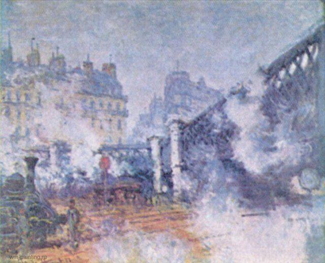 """""""Мост в Европу"""", вокзал Сен-Лазар в Париже - Моне Клод (Claude Monet) фото"""