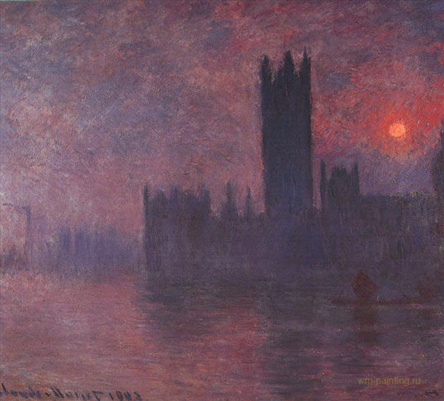 картина Здание парламента в Лондоне ( эффект заката ) :: Клод Моне - Моне Клод (Claude Monet) фото