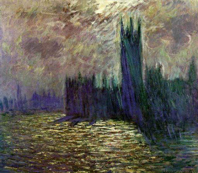 картина Парламент, Лондон, сумерки :: Клод Моне, плюс статья про подарки - Claude Monet фото