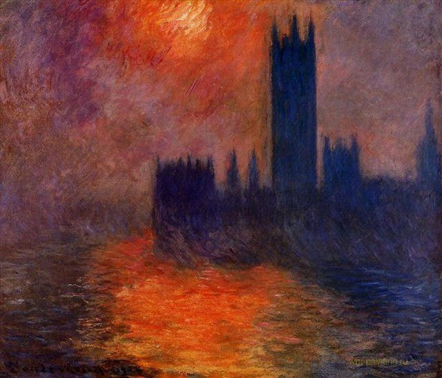 картина < здание Парламента Эффект заката II > :: Клод Моне - Моне Клод (Claude Monet) фото