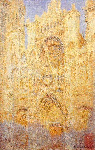 Руанский собор, портал и башня Сен-Ромен: эффект солнца, конец дня ::  Клод Моне - Моне Клод (Claude Monet) фото