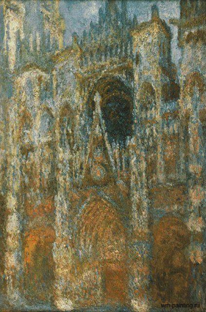 Руанский собор, портал и башня Сен-Ромен: утреннее солнце, голубая гармония - Claude Monet фото