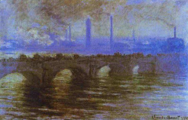 городской пейзаж Мост Ватерлоо :: Клод Моне, описание картины - Claude Monet фото