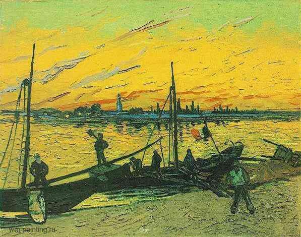 Угольные баржи :: Винсент Виллем Ван Гог, описание картины  - Van Gogh фото