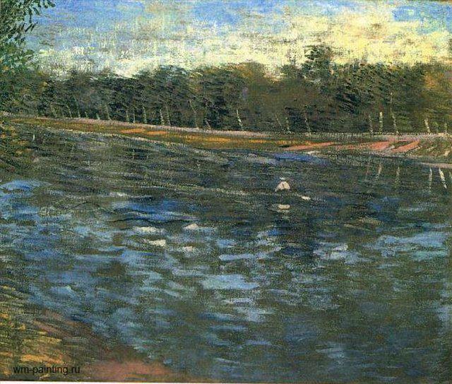 Сена и лодка с гребцом :: Ван Гог, описание картины - Van Gogh фото