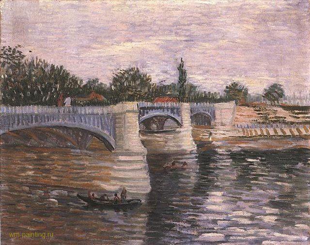 Сена с Понтонным мостом Гранд Джет ::  Ван Гог, описание картины - Van Gogh фото