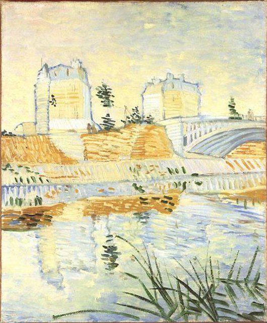 Сена с Понтонным мостом де Клиши :: Ван Гог, описание картины - Van Gogh фото