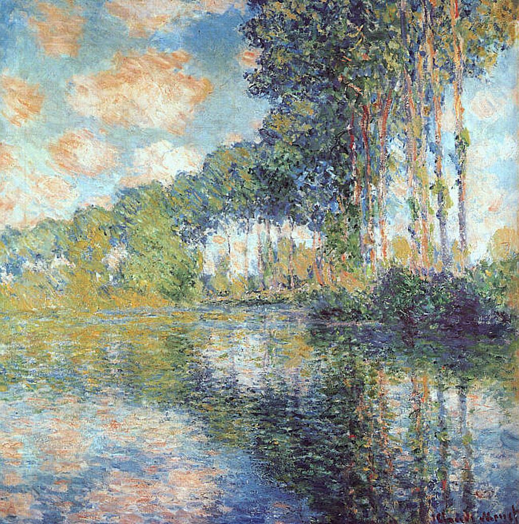 Тополя на Эпте ::  Клод Моне, описание картины  - Claude Monet фото