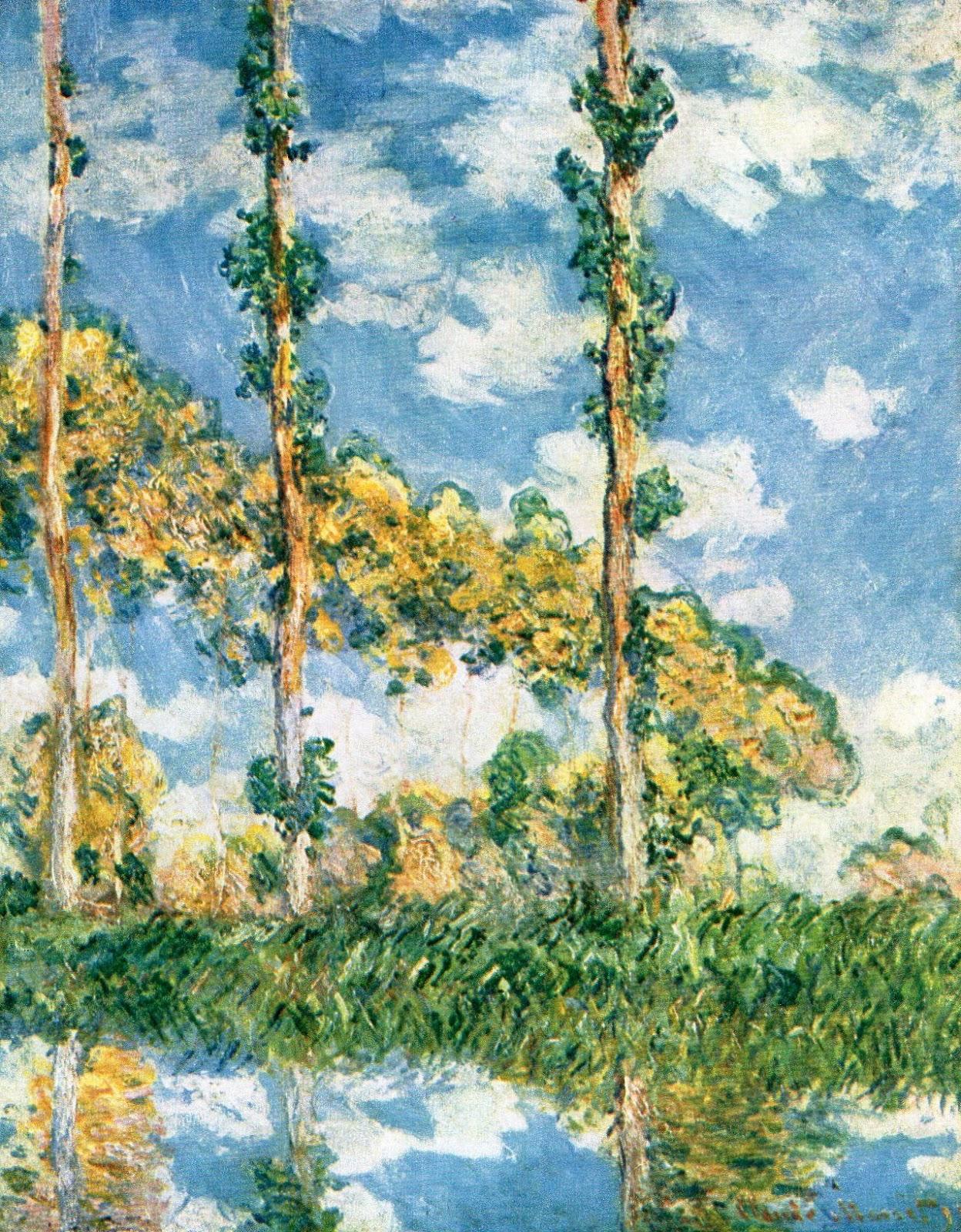 Тополя на реке Эпт в солнечном свете ::  Клод Моне, описание картины  - Моне Клод (Claude Monet) фото