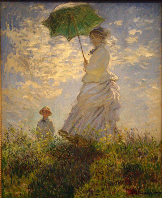 Камилла Моне и сын Жан на холме ( дама с зонтиком ) :: Клод Моне - Моне Клод (Claude Monet) фото