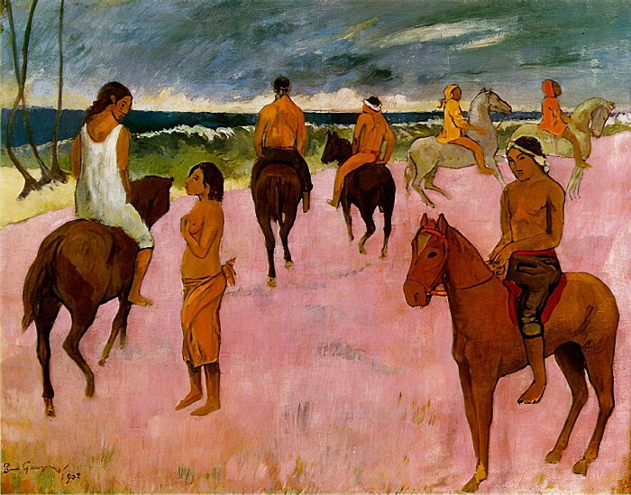 Всадники на пляже :: Поль Гоген - Гоген Поль ( Paul Gauguin ) фото