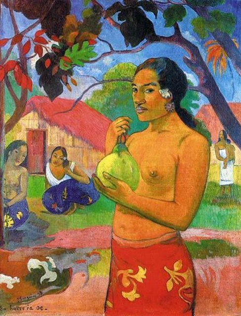 Женщина, держащая плод :: Поль Гоген - Гоген Поль ( Paul Gauguin ) фото