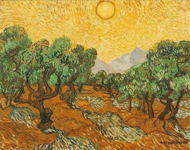 Оливковые деревья с жёлтыми небесами и солнцем :: Ван Гог - Van Gogh фото