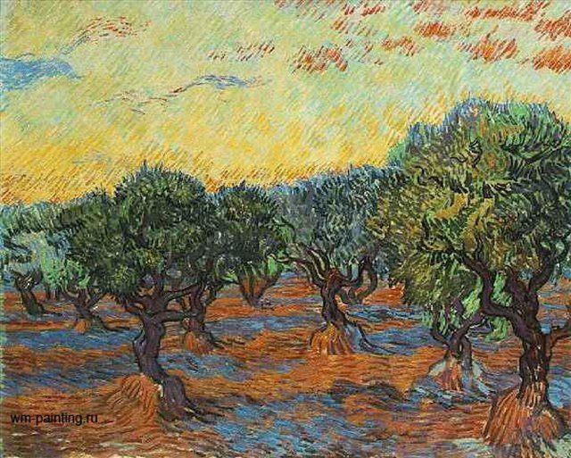 Оливковая роща, оранжевое небо :: - Van Gogh фото