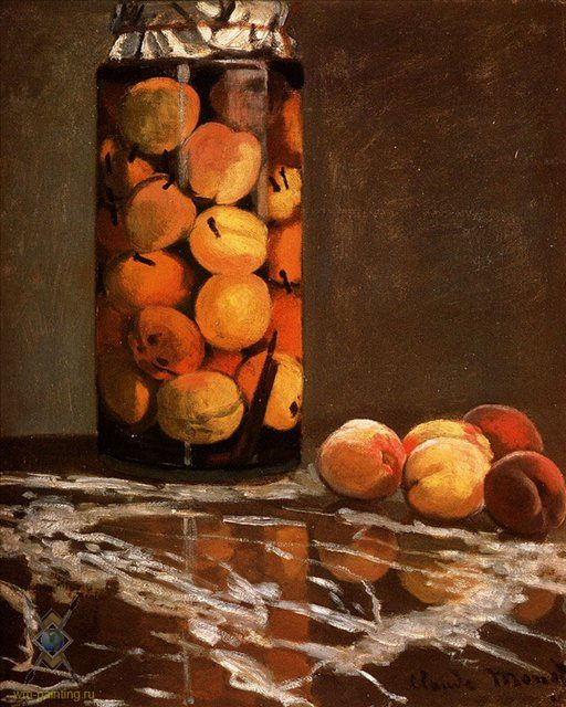 картина-натюрморт Банка с персиками :: Клод Моне - Claude Monet фото