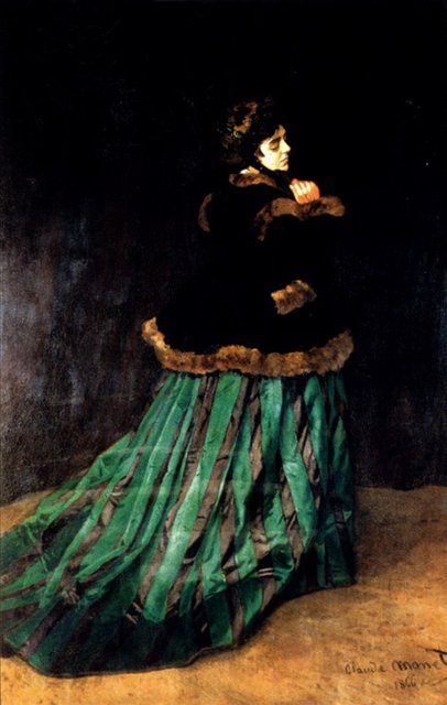 картина Женщина в зелёном платье :: Клод Моне - Claude Monet фото