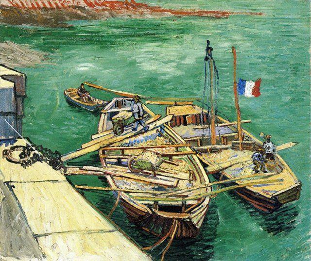 речные и морские пейзажи в живописи Ван Гога [ Лодки с песком у причала ] :: Ван Гог - Van Gogh (Ван Гог) фото