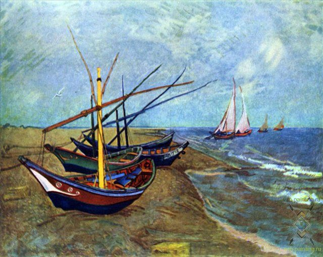 Рыбачьи лодки на пляже от Сент-Мари :: Винсент Виллем Ван Гог, описание картины  - Van Gogh фото