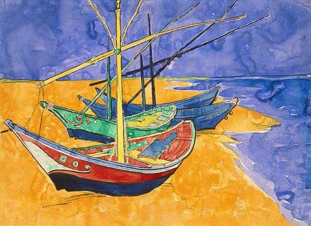 Рыбачьи лодки на пляже от Сент-Мари, акварель :: Винсент Виллем Ван Гог - Van Gogh фото