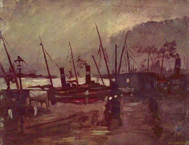 Набережная с кораблями в Антверпене :: Винсент Виллем Ван Гог - Van Gogh (Ван Гог) фото