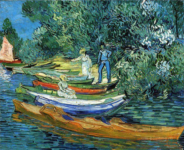 Берег с лодками в Овер на реке Уазе :: Винсент Виллем Ван Гог, описание картины  - Van Gogh фото
